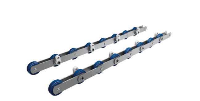 Moving walk pallet chains